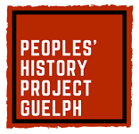 Peoples' History Project Guelph text on red square with black border.