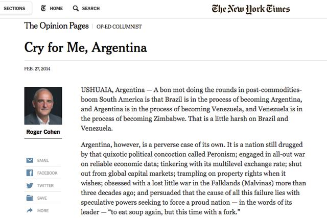 """Durísimo editorial del New York Times: """"Argentina está en proceso de convertirse en Venezuela"""" - Foto:"""