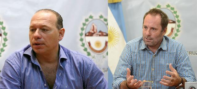 El secretario de seguridad de la nación Sergio Berni el padre Juan Carlos Molina responsable de SEDRONAR - Foto: OPI Santa Cruz/Francisco Muñoz