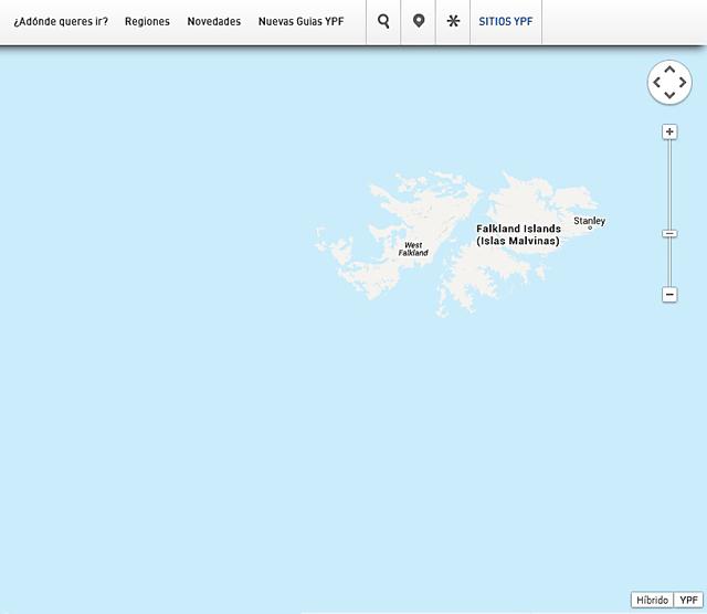 YPF incluyó un mapa argentino donde nombra a Malvinas como Falkland Island