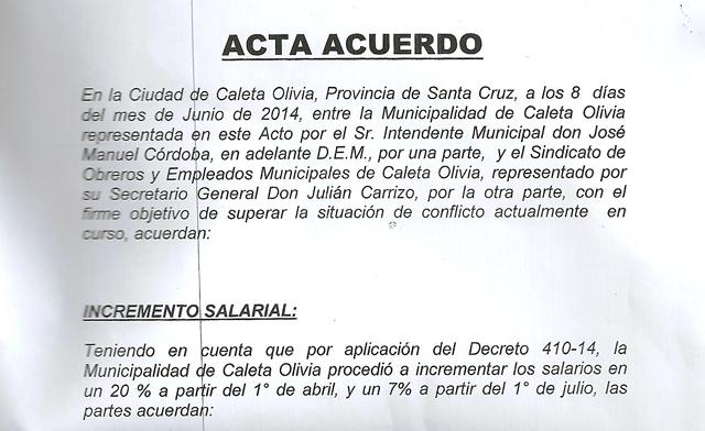 El acta acuerdo en la Municipalidad de Caleta Olivia - OPI Santa Cruz