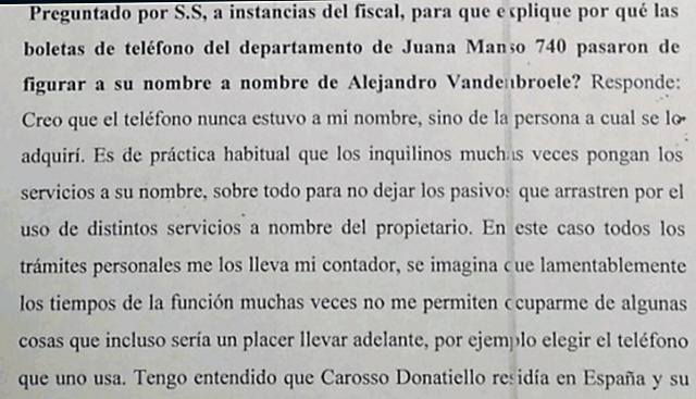 Parte de la declaración de Amado Boudou frente al Juez Ariel Lijo