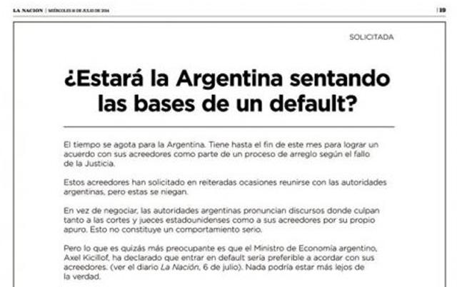 """Los holdouts acusan al Gobierno de """"estar sentando las bases"""" para entrar en default"""