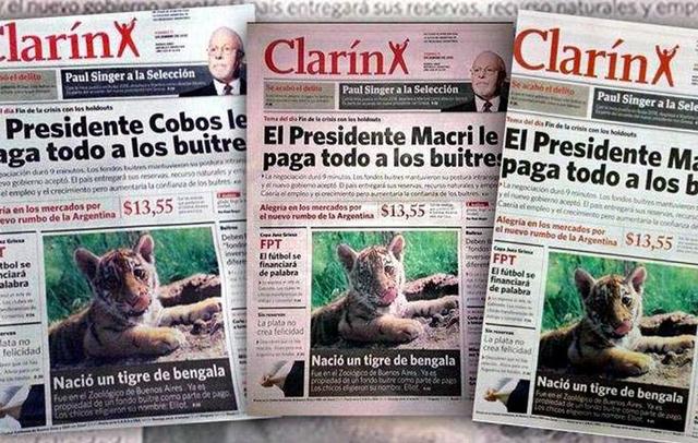 Las diferentes portadas del Clarín trucho que circulo hoy en Capital Federal -