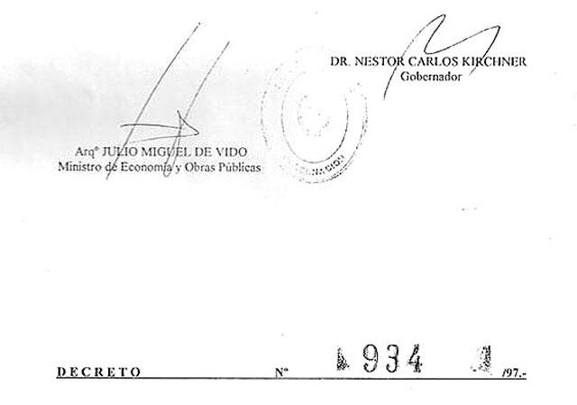 Las firmas en el decreto 934 de 1197