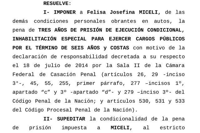 Felisa Miceli fue condenada a tres años de prisión condicional y seguirá en libertad