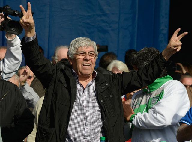 """Hugo Moyano: """"No vamos a firmar ningún acuerdo salarial que no tenga un tres adelante"""" - Foto: OPI Santa Cruz/Francisco Muñoz"""