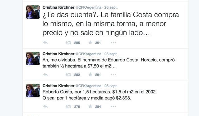 Los tuits del sábado 26 de septiembre de la Presidenta Cristina Kirchner -