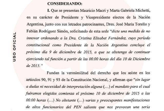 Servini de Cubría determinó que el mandato de Mauricio Macri empieza a las cero y que debe jurar
