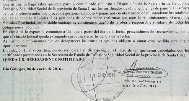 """El telegrama de despido enviado por Lázaro a los obreros, fue analizado técnicamente y considerado un """"papelón jurídico"""""""