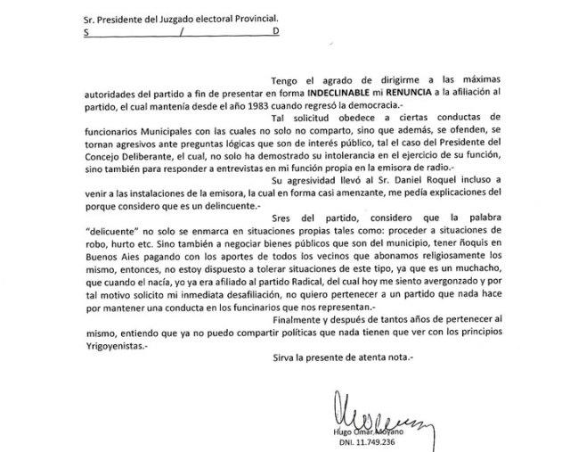 Un afiliado de la UCR pidió la renuncia indeclinable al Radicalismo por corrupción de algunos referentes