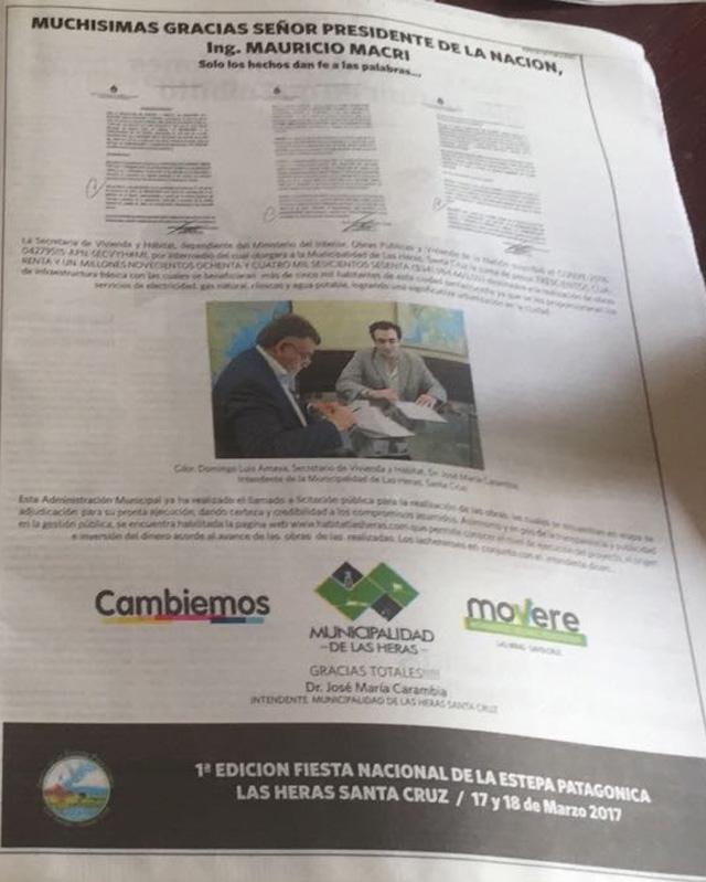 Intendente de Las Heras pagó más de 1.3 millones de pesos a Clarín, para agradecerle a Macri