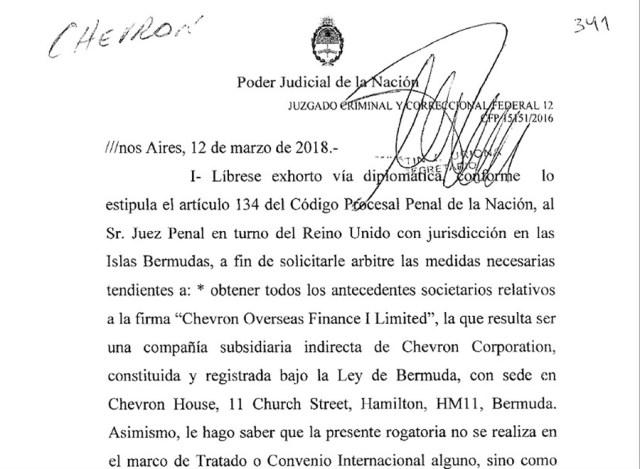 """Liberaron exhorto para que el Reino Unido envíe a la Argentina los antecedentes societarios de la firma """"Chevrón Overseas Finance I Limited"""""""