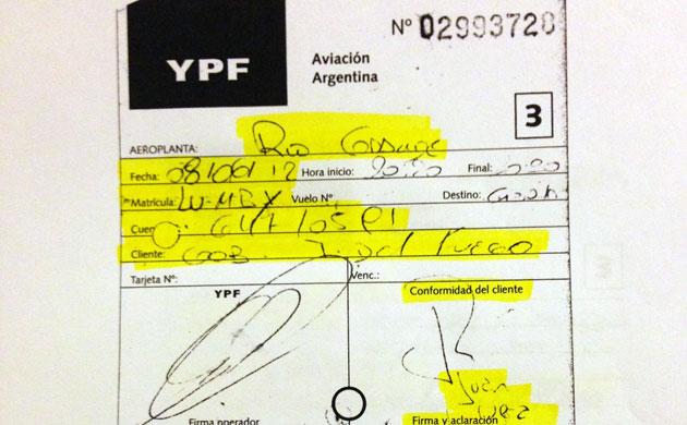 El documento de la carga a un avión de la firma TOP AIR - Foto: OPI Santa Cruz