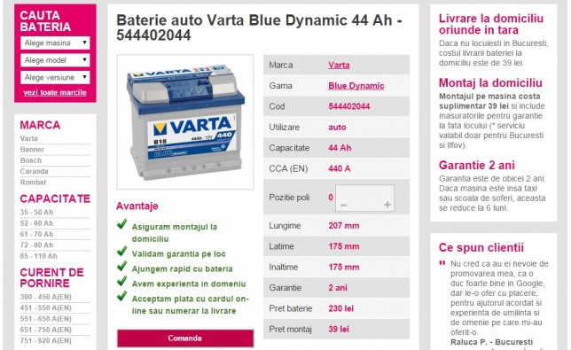 baterie auto Varta