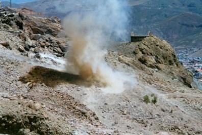 Dynamitsprengung in Potosi