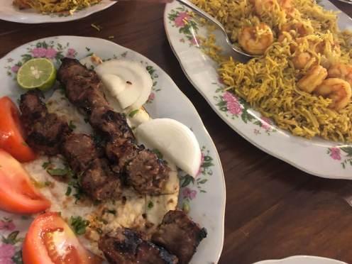 Kebab und Reis