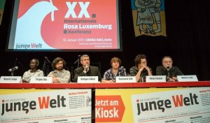 picture from the panel discussion at Rosa Lux conference