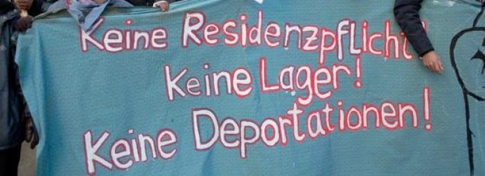 picture of demonstration banner against lager and deportation