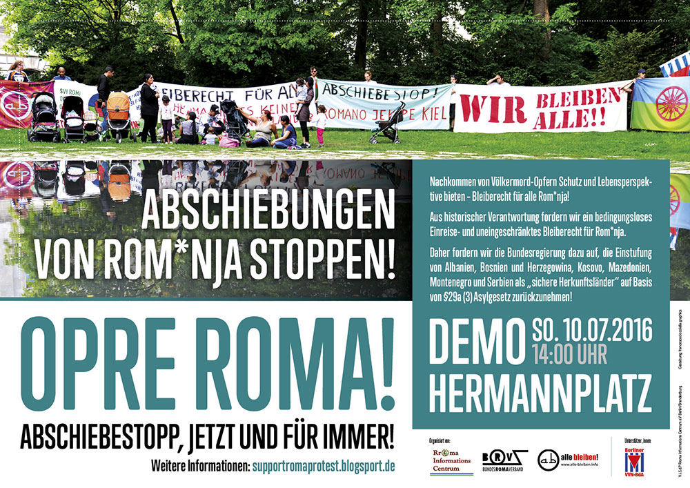 Poster for a demonstration against deportation of Sinti and Roma people from Germany on 10th of July, 2PM Berlin Hermannplatz