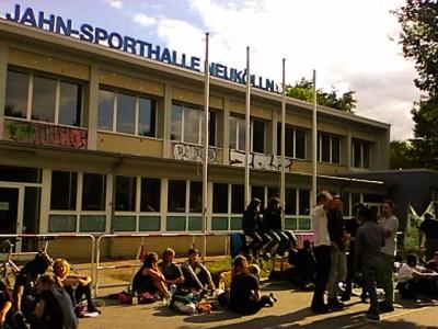 Flüchtlingsprotest Jahnsporthalle