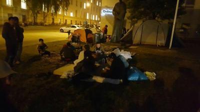 Flüchtlingsprotest in Briennenstr. Berlin