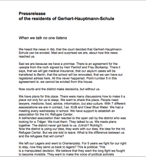 picture of the press statement from the people of the school