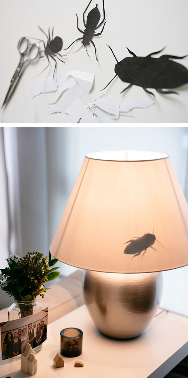Cut bug shapes out of paper and tape it to the inside of lamps.