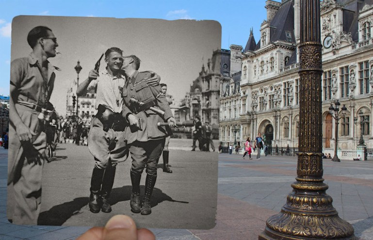 Soldiers outside the Hotel De Ville during the war.