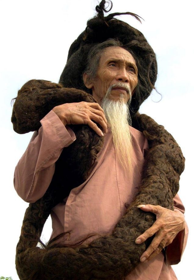 Tran Van Hay was a Vietnamese herbalist who was known as the man with the longest locks in the world. He had kept his hair uncut and unwashed for many years, because he would often get sick after a haircut when he was younger. Aged 79, Hay died of natural causes in 2010.