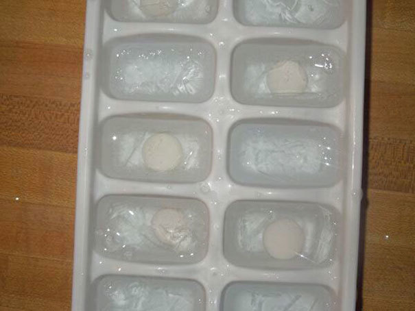 Secretly place mentos into ice cubes for those friends who love soda.