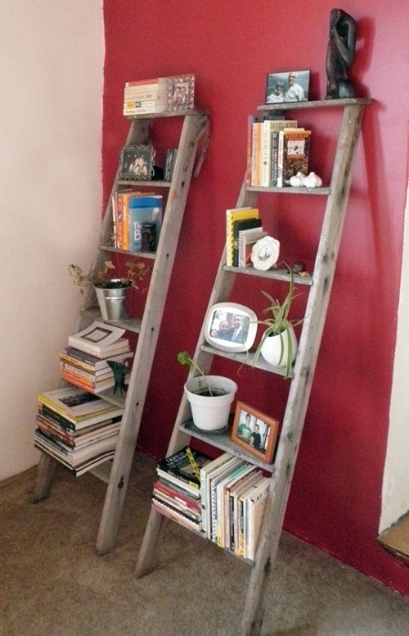 Turn a broken ladder into bookshelves.