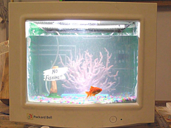Create a fish tank out of an old computer monitor.