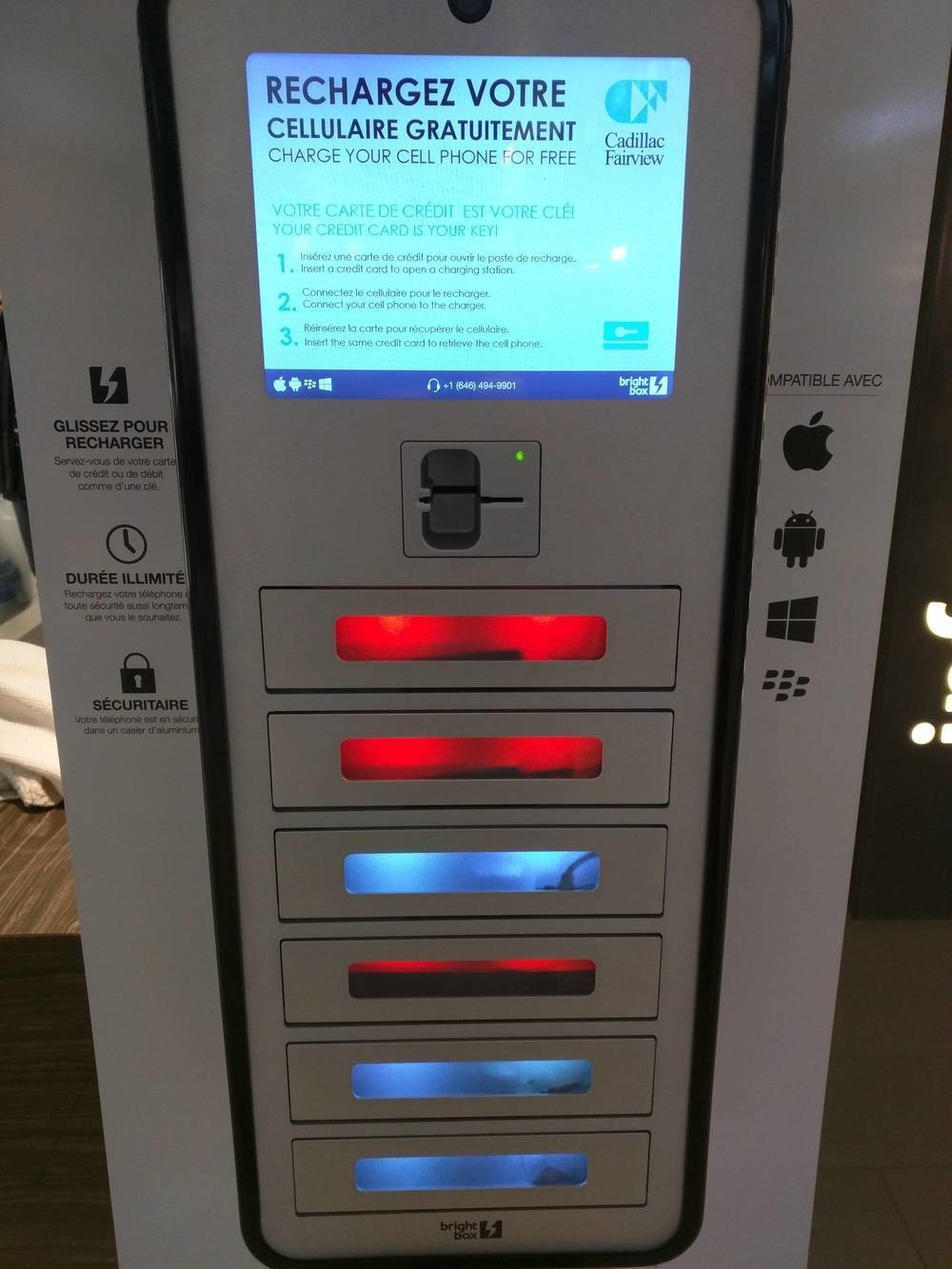 A charging station for mobile phones while you shop.