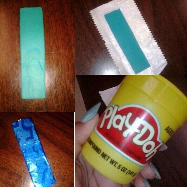 Substitute sticks of gum with Play-doh.