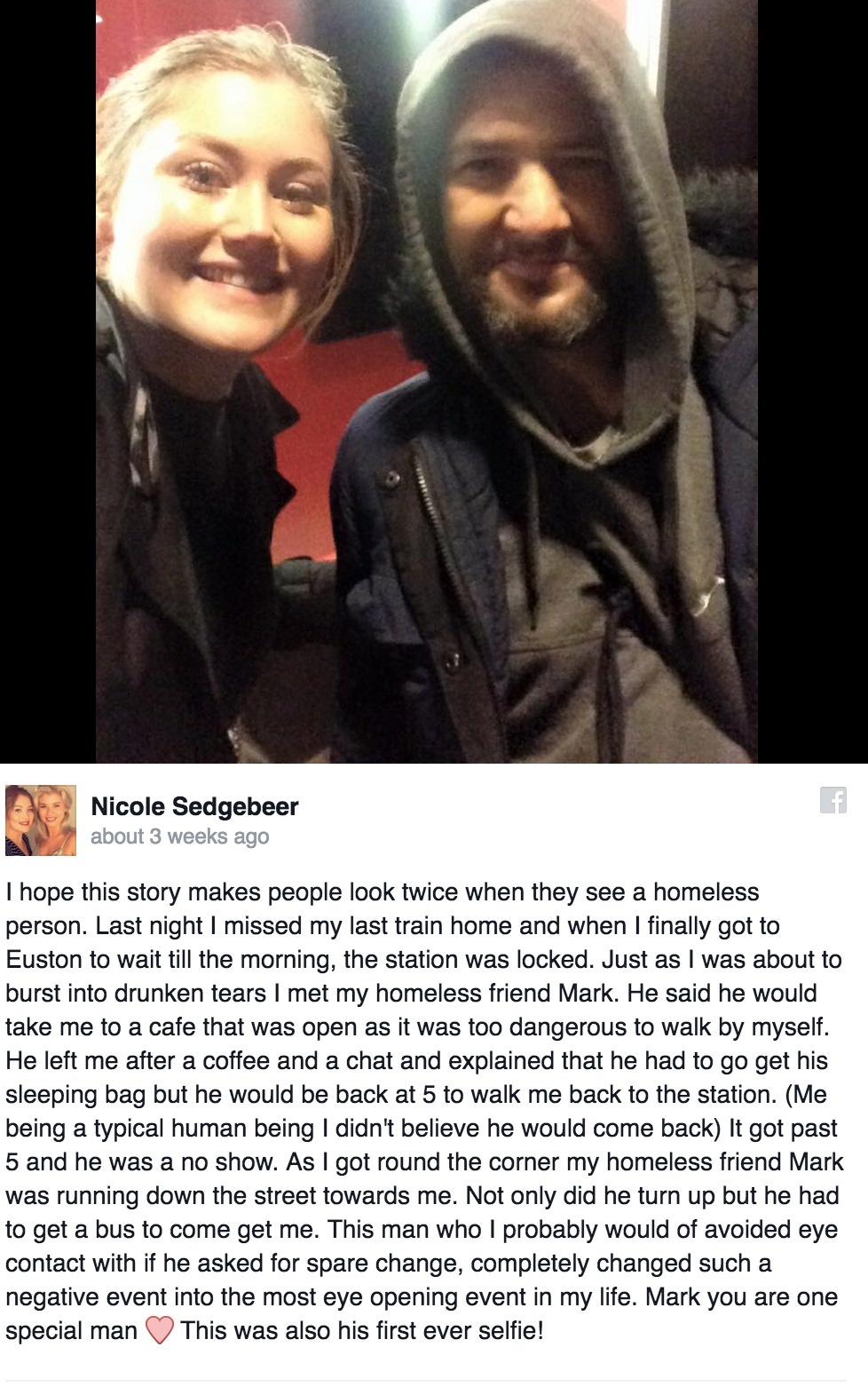 What this homeless man did will almost certainly bring a tear to your eyes.