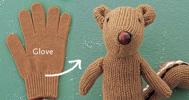 Make a glove out of an old or ripped up stuffed animal.