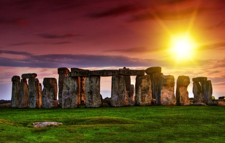 Watching The Stonehenge During Sunset, United Kingdom