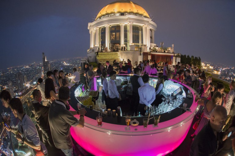 The Sky Bar is suspended 820 feet in the air on top of the Tower Club in Bangkok in Thailand.