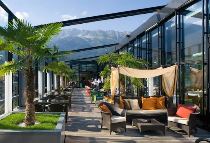 The American Bar in the Penz Hotel overlooks the Alps in Innsbruck, Austria.