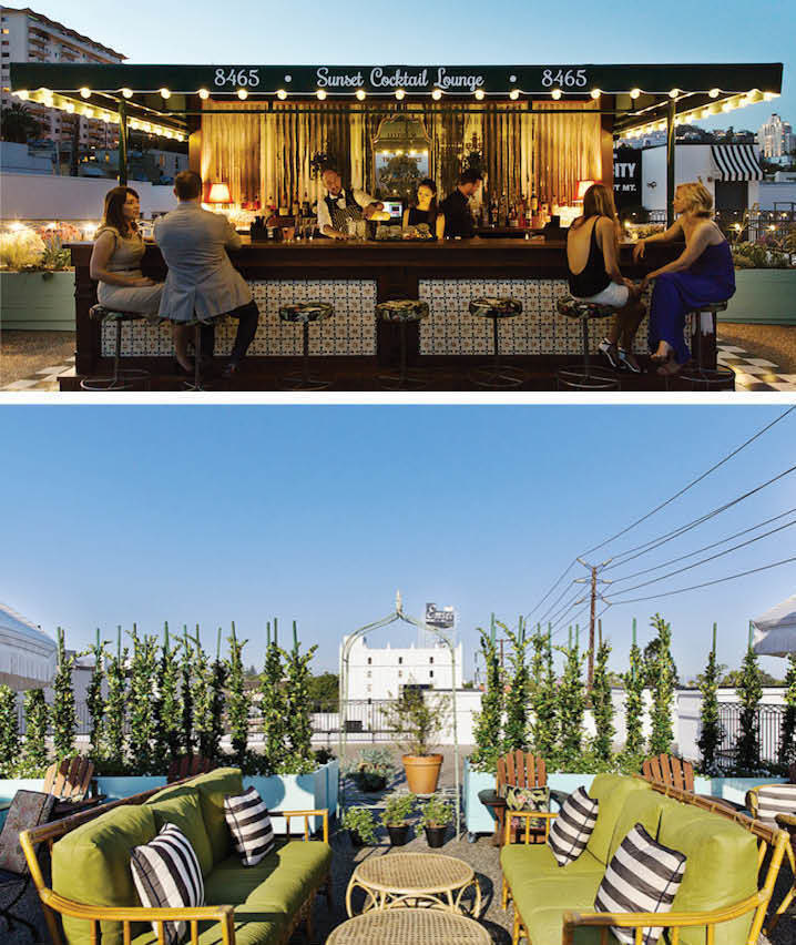 The rooftop bar of the Palihouse restaurant in West Hollywood, California.