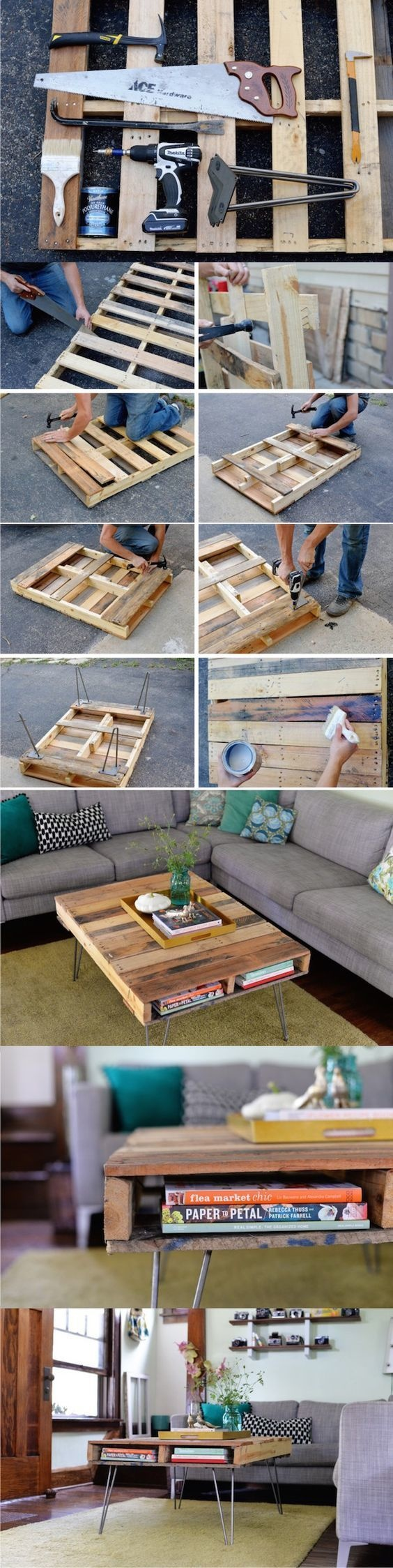 Turn a pallet into a coffee table.