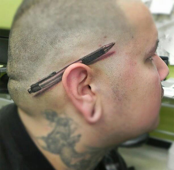 A pen behind the ear.