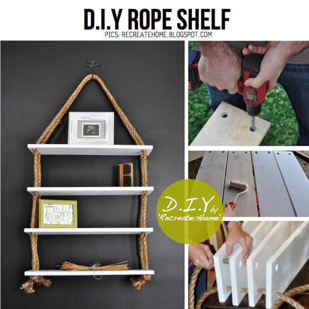Use rope to create multiple hanging shelves.