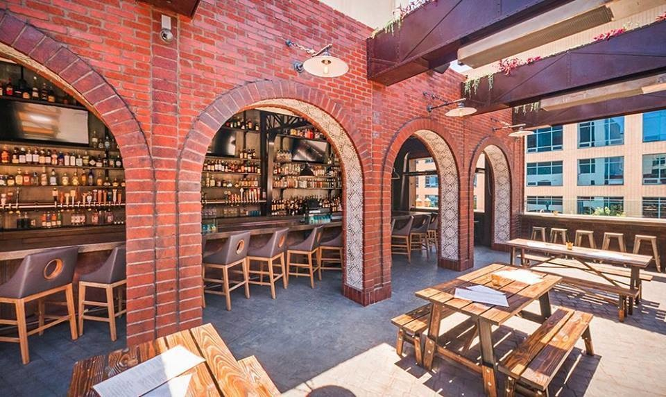 The Roof Tap beer garden is part of sunny Long Beach, California.