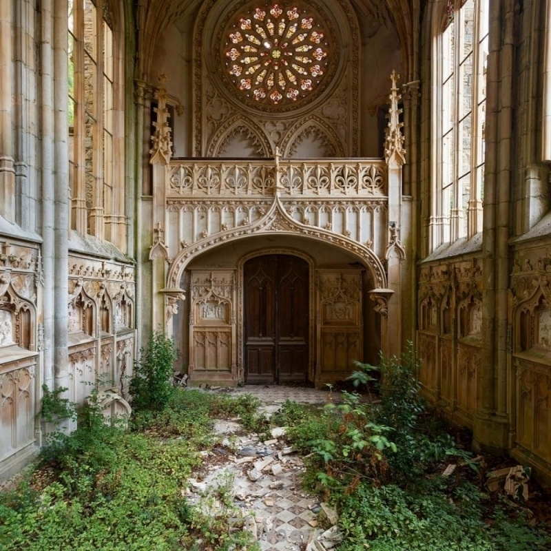 Signs of life at a deserted church in France.