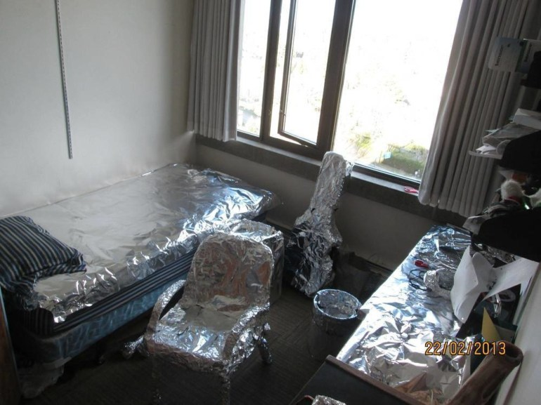When you leave for a week and your roommates wrap your room up in tin foil...