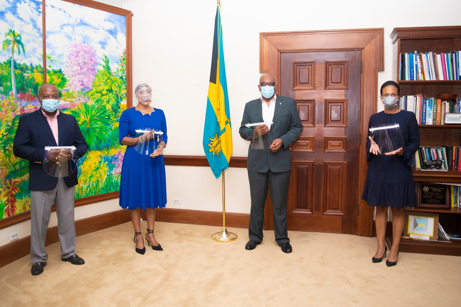 Prime Minister Minnis accepts donation of locally produced face shields for healthcare workers