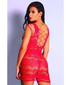 Mini vestido sensual vermelho com manga longa e detalhes na altura superior - YAFFA Lingerie