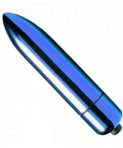 Mini Vibrador 10 Vibrações Power Bullet Cápsula RO-80 Bullet - Azul Metalizado